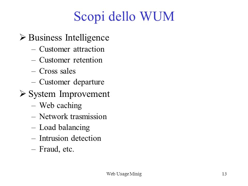 Scopi dello WUM Business Intelligence System Improvement
