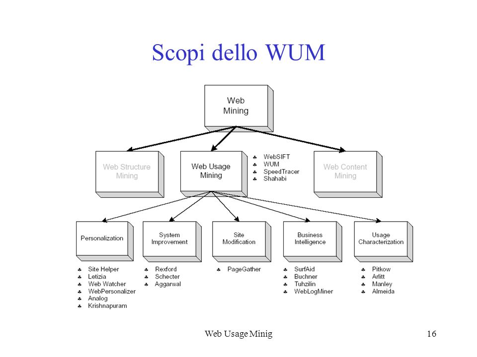 Web Usage Mining Scopi dello WUM Web Usage Minig