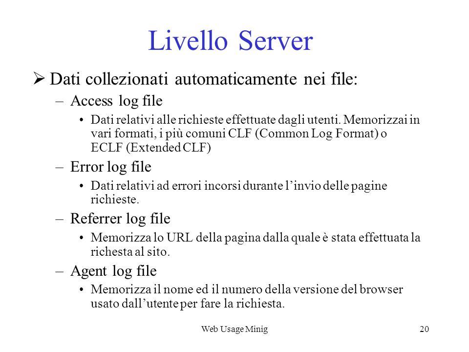 Livello Server Dati collezionati automaticamente nei file: