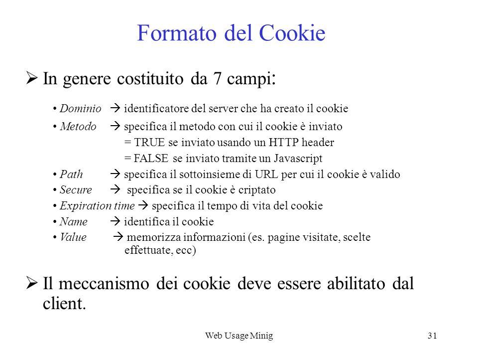 Formato del Cookie In genere costituito da 7 campi: