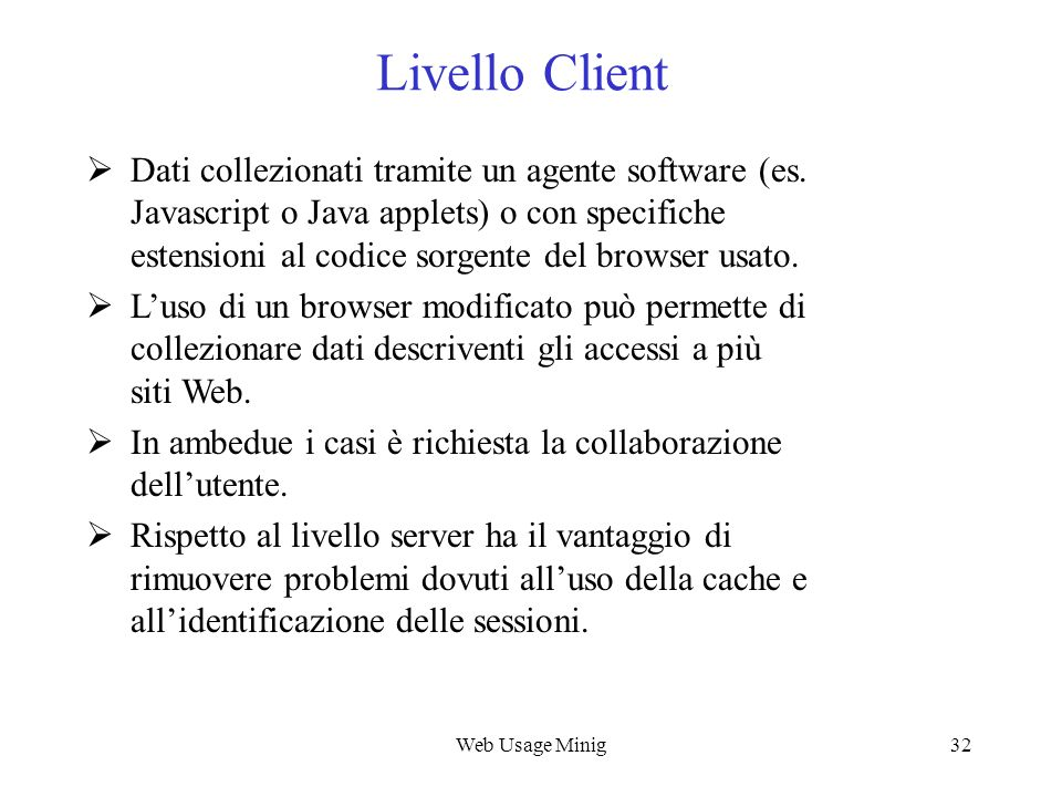 Web Usage Mining Livello Client.
