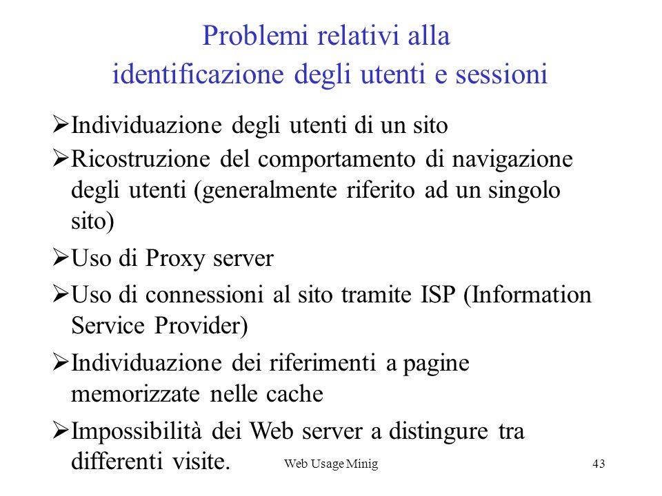 Problemi relativi alla identificazione degli utenti e sessioni