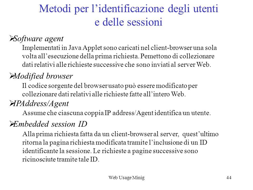 Metodi per l'identificazione degli utenti e delle sessioni