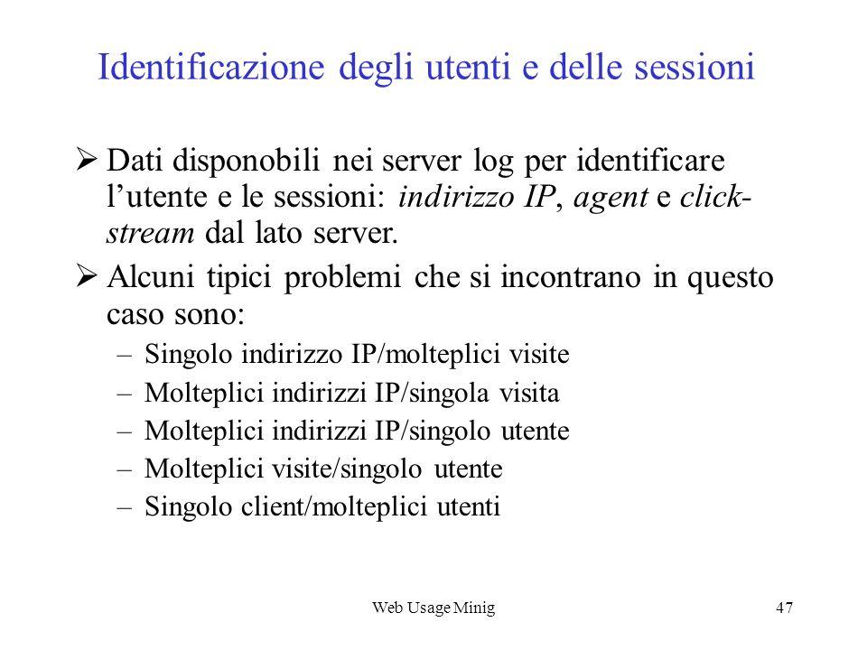 Identificazione degli utenti e delle sessioni