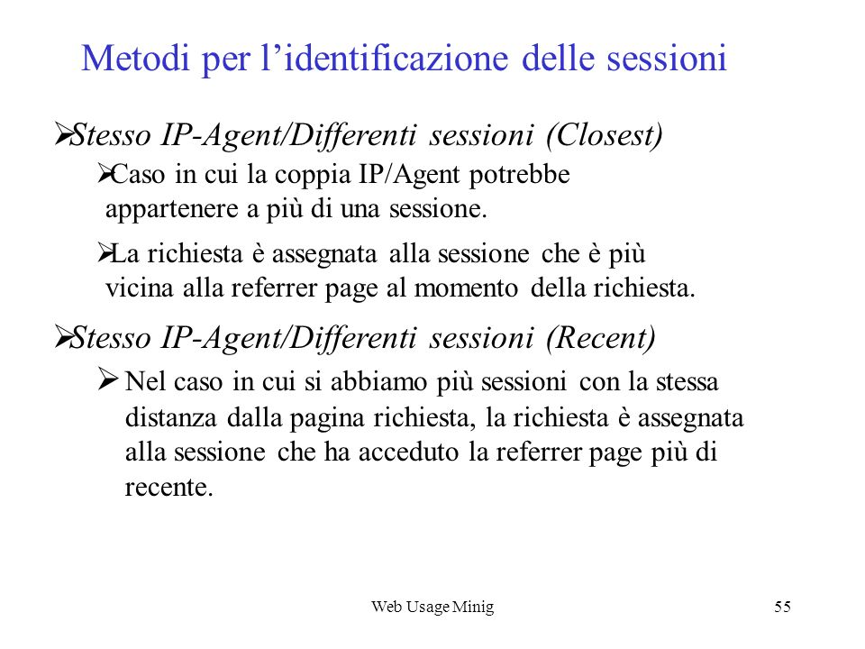 Metodi per l'identificazione delle sessioni