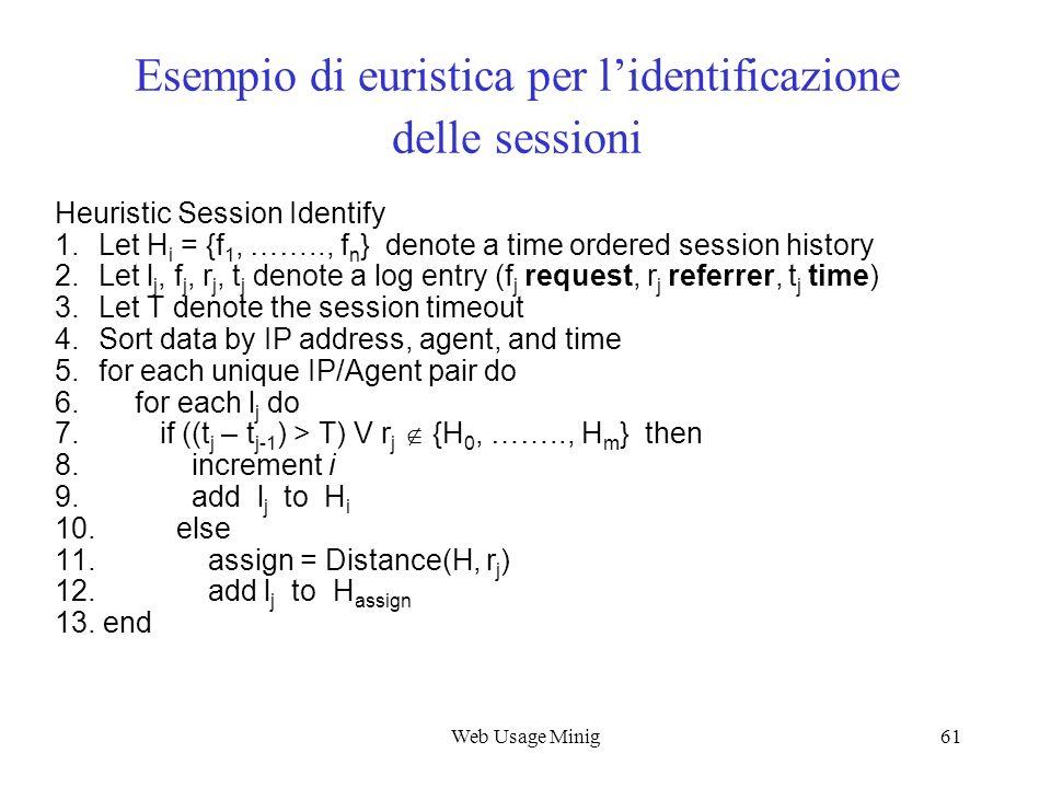 Esempio di euristica per l'identificazione delle sessioni