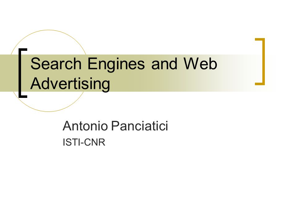 Search Engines and Web Advertising