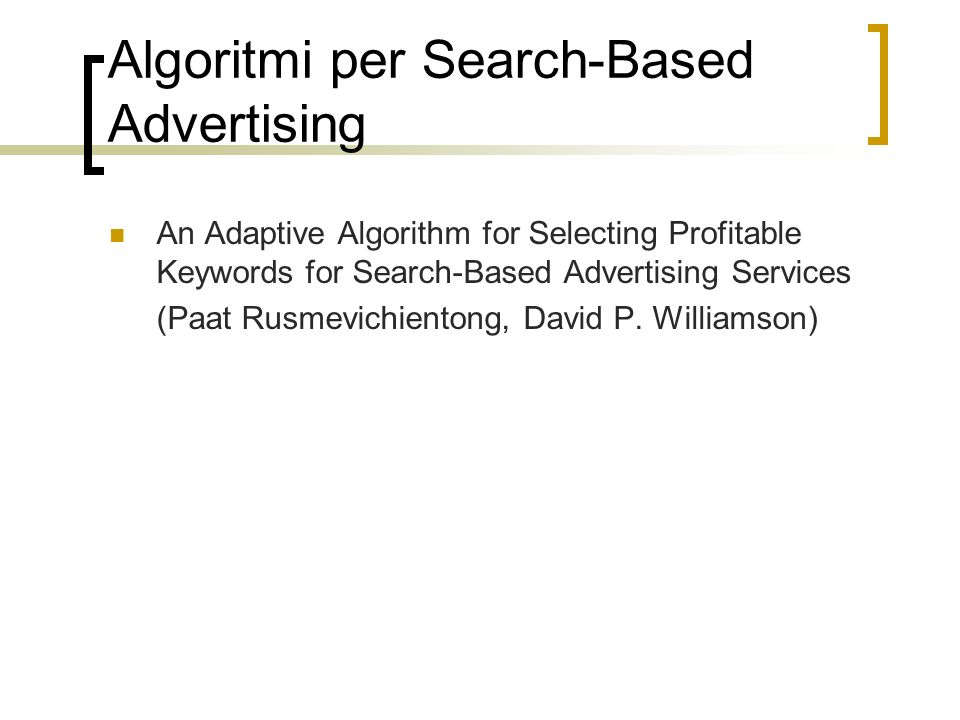 Algoritmi per Search-Based Advertising