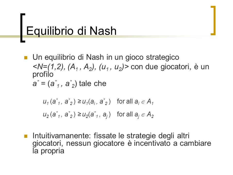 Equilibrio di Nash Un equilibrio di Nash in un gioco strategico