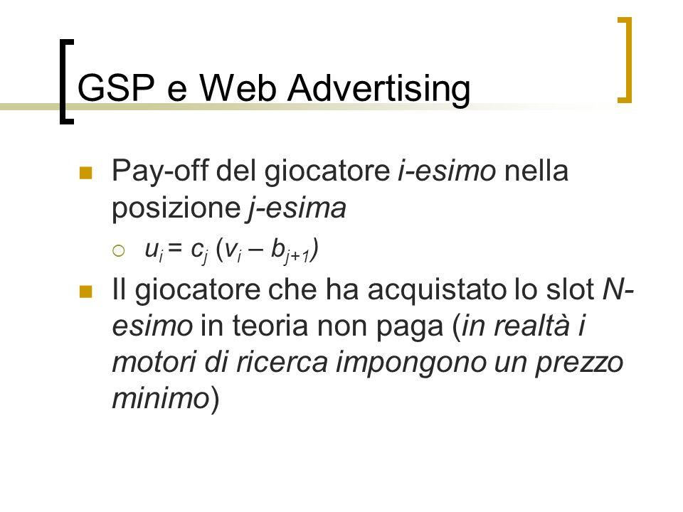 GSP e Web Advertising Pay-off del giocatore i-esimo nella posizione j-esima. ui = cj (vi – bj+1)