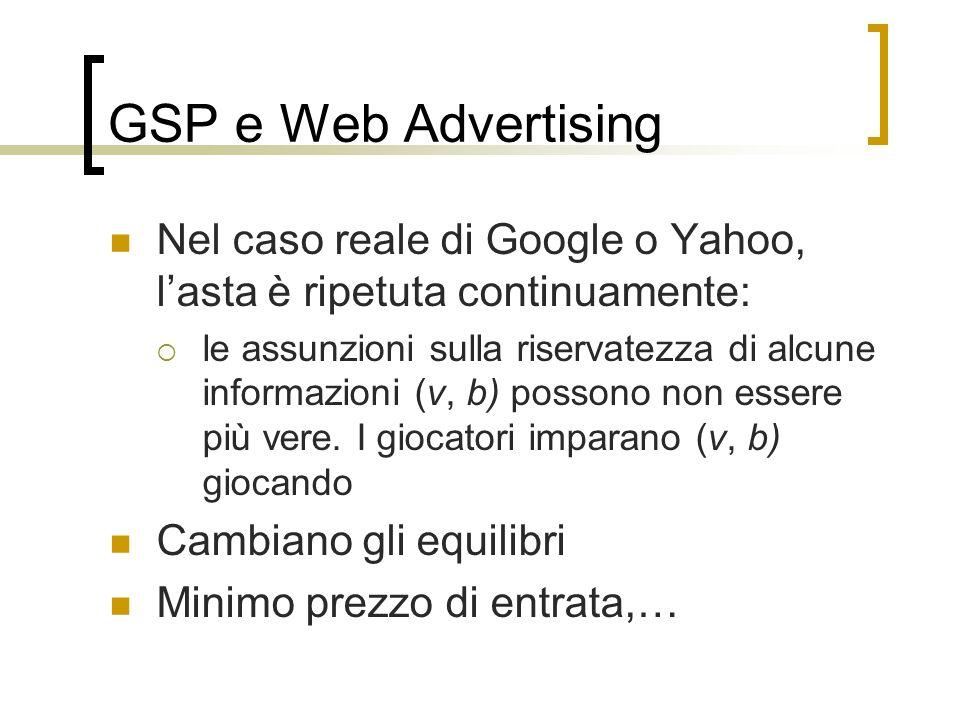 GSP e Web Advertising Nel caso reale di Google o Yahoo, l'asta è ripetuta continuamente: