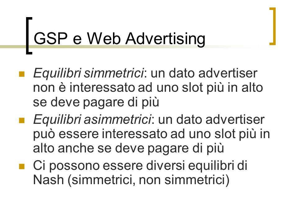 GSP e Web Advertising Equilibri simmetrici: un dato advertiser non è interessato ad uno slot più in alto se deve pagare di più.