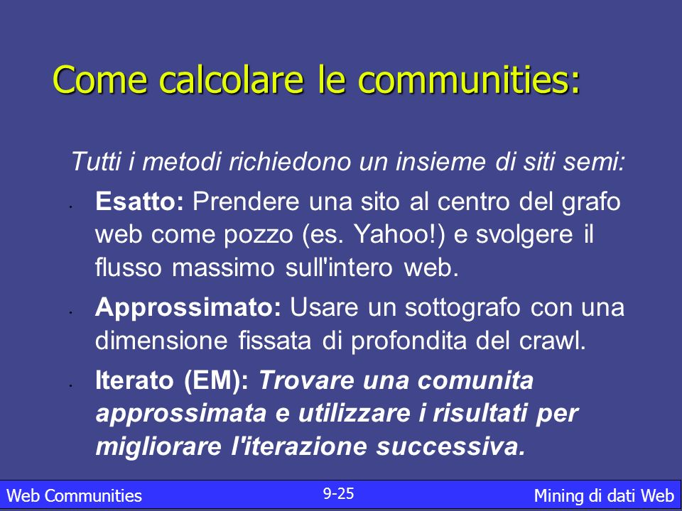 Come calcolare le communities: