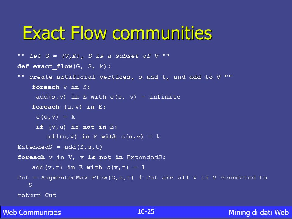 Exact Flow communities