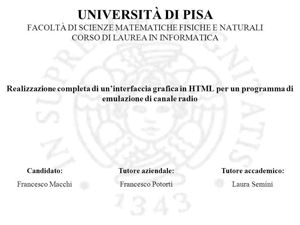 UNIVERSITÀ DI PISA FACOLTÀ DI SCIENZE MATEMATICHE FISICHE E NATURALI CORSO DI LAUREA IN INFORMATICA