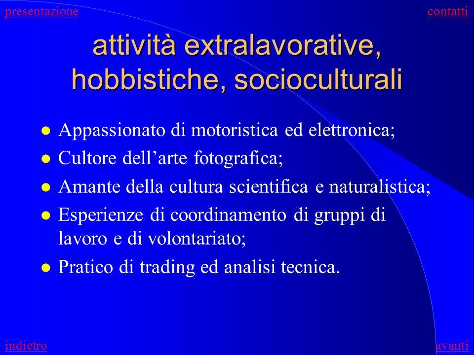 attività extralavorative, hobbistiche, socioculturali
