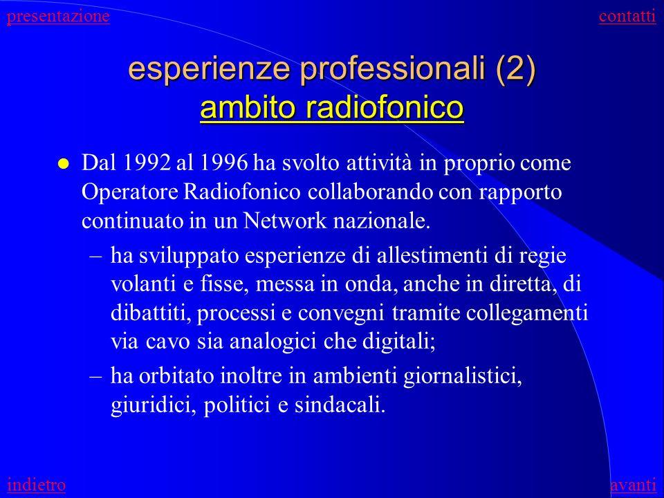 esperienze professionali (2) ambito radiofonico