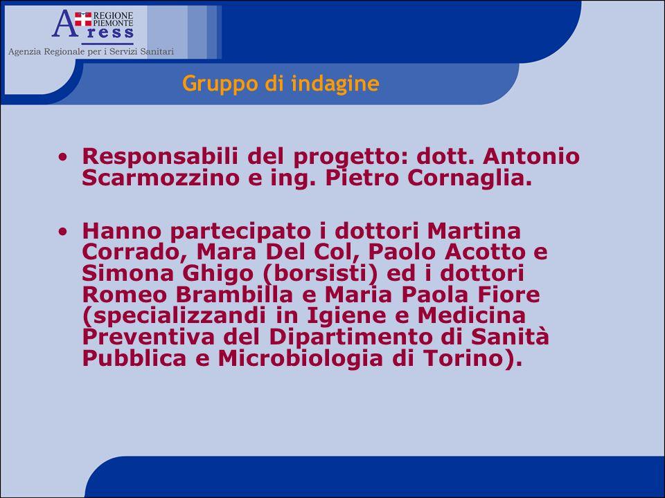 Gruppo di indagine Responsabili del progetto: dott. Antonio Scarmozzino e ing. Pietro Cornaglia.