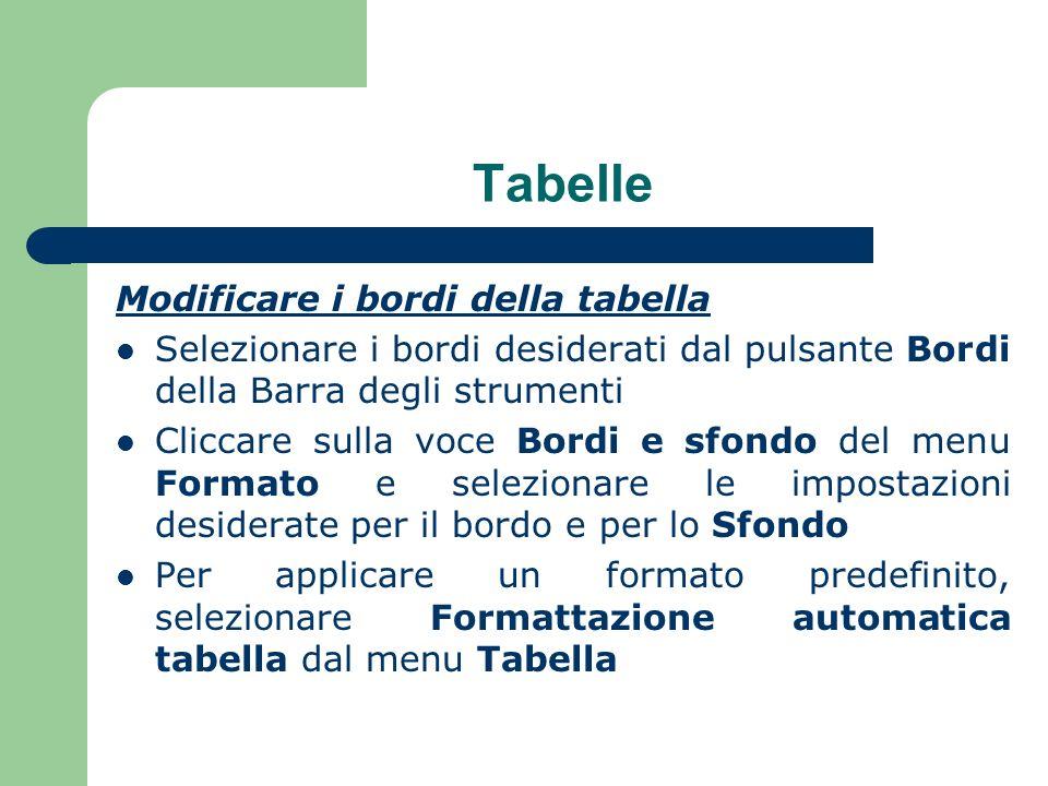 Tabelle Modificare i bordi della tabella