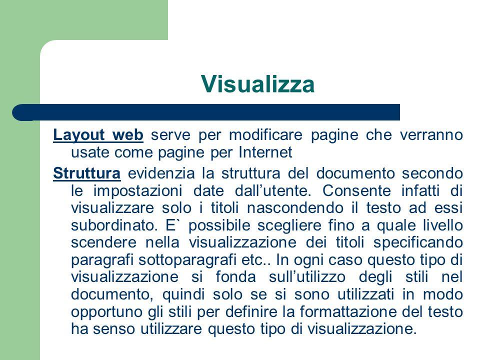 Visualizza Layout web serve per modificare pagine che verranno usate come pagine per Internet.