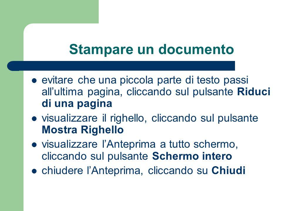 Stampare un documento evitare che una piccola parte di testo passi all'ultima pagina, cliccando sul pulsante Riduci di una pagina.
