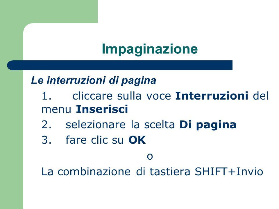 Impaginazione Le interruzioni di pagina