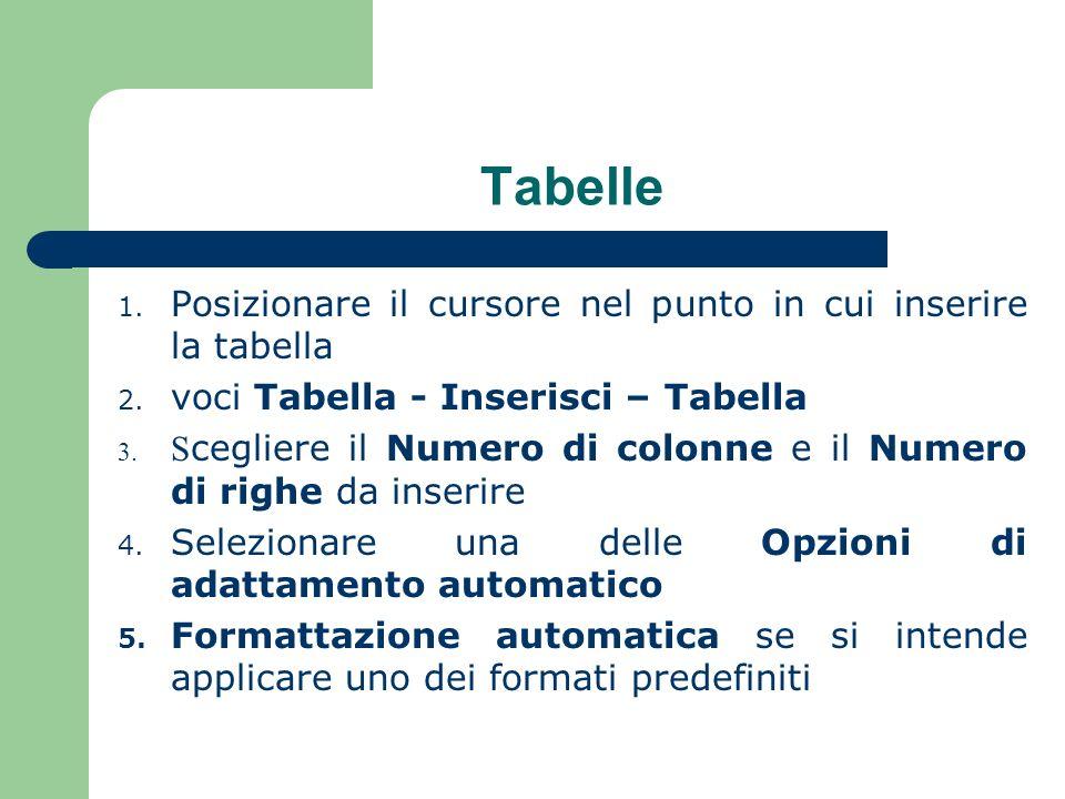 Tabelle Posizionare il cursore nel punto in cui inserire la tabella