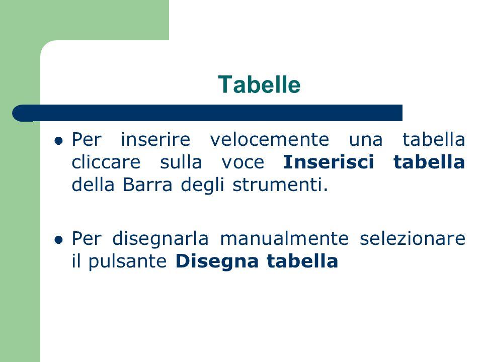 Tabelle Per inserire velocemente una tabella cliccare sulla voce Inserisci tabella della Barra degli strumenti.