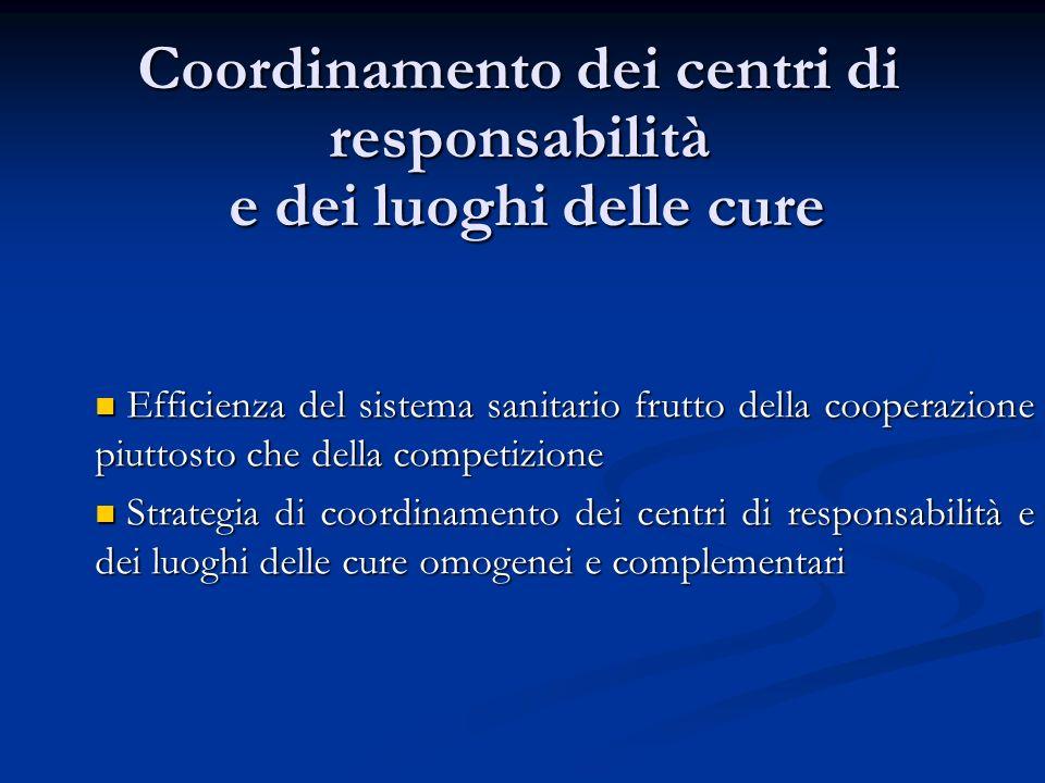 Coordinamento dei centri di responsabilità e dei luoghi delle cure