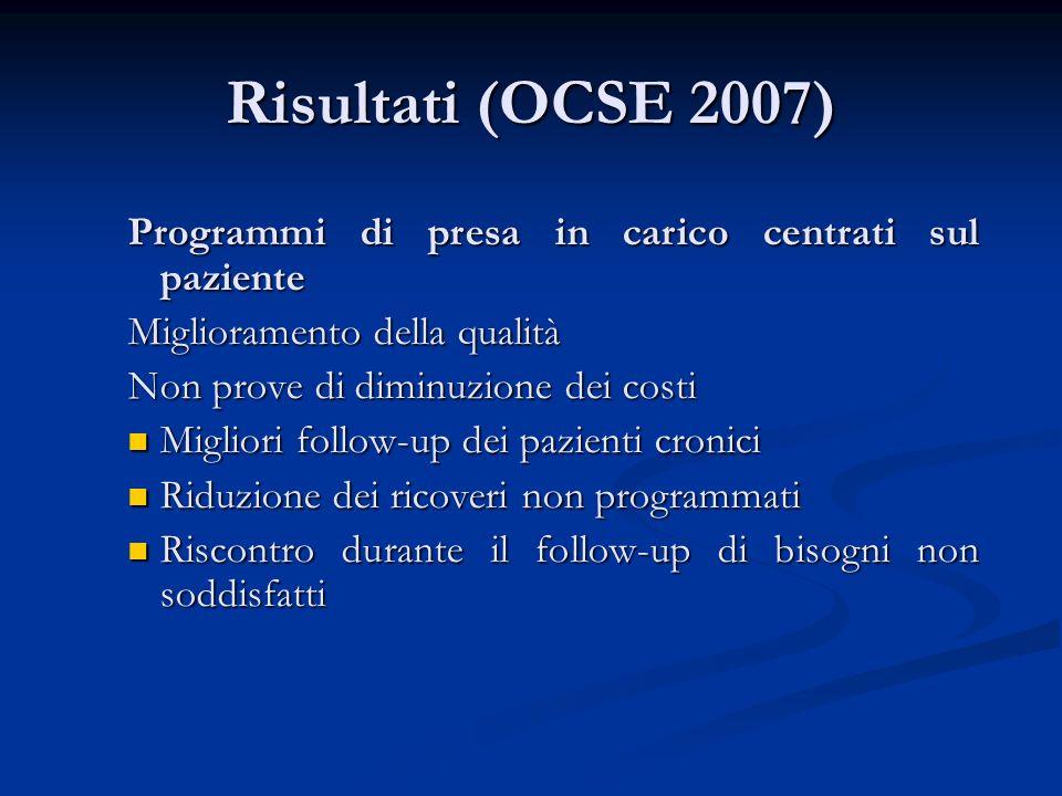 Risultati (OCSE 2007) Programmi di presa in carico centrati sul paziente. Miglioramento della qualità.