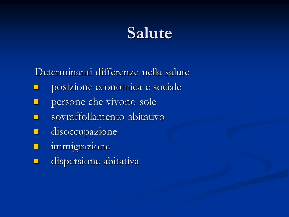 Salute Determinanti differenze nella salute