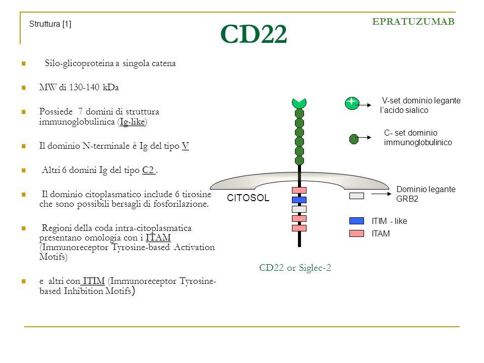 CD22 EPRATUZUMAB CD22 or Siglec-2 Silo-glicoproteina a singola catena