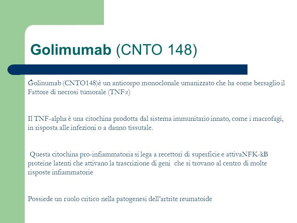 Golimumab (CNTO 148) Golinumab (CNTO148)è un anticorpo monoclonale umanizzato che ha come bersaglio il Fattore di necrosi tumorale (TNFα)