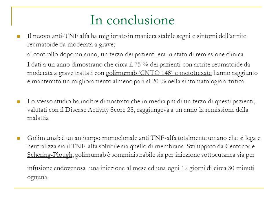 In conclusione Il nuovo anti-TNF alfa ha migliorato in maniera stabile segni e sintomi dell'artrite reumatoide da moderata a grave;
