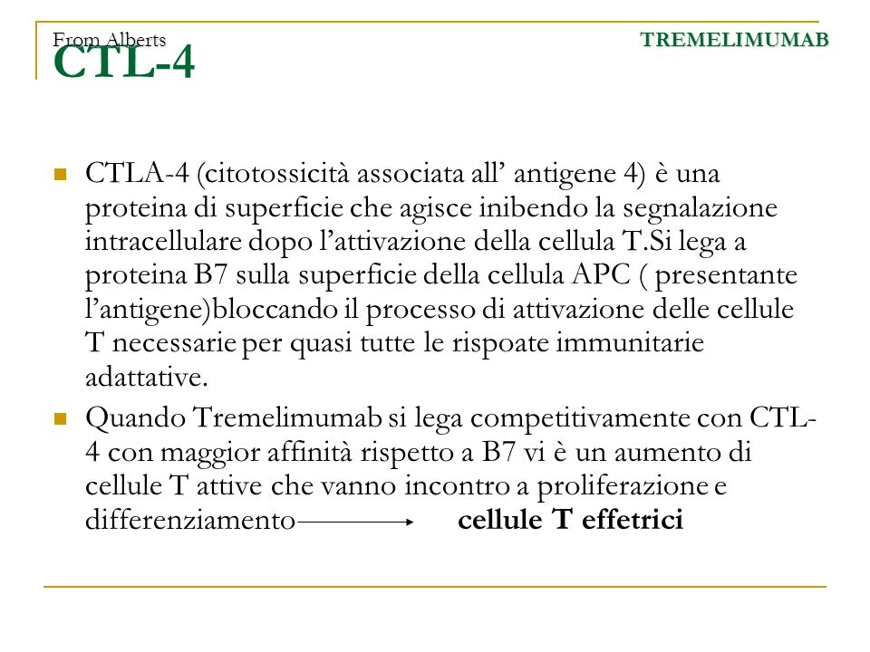 From Alberts CTL-4. TREMELIMUMAB.