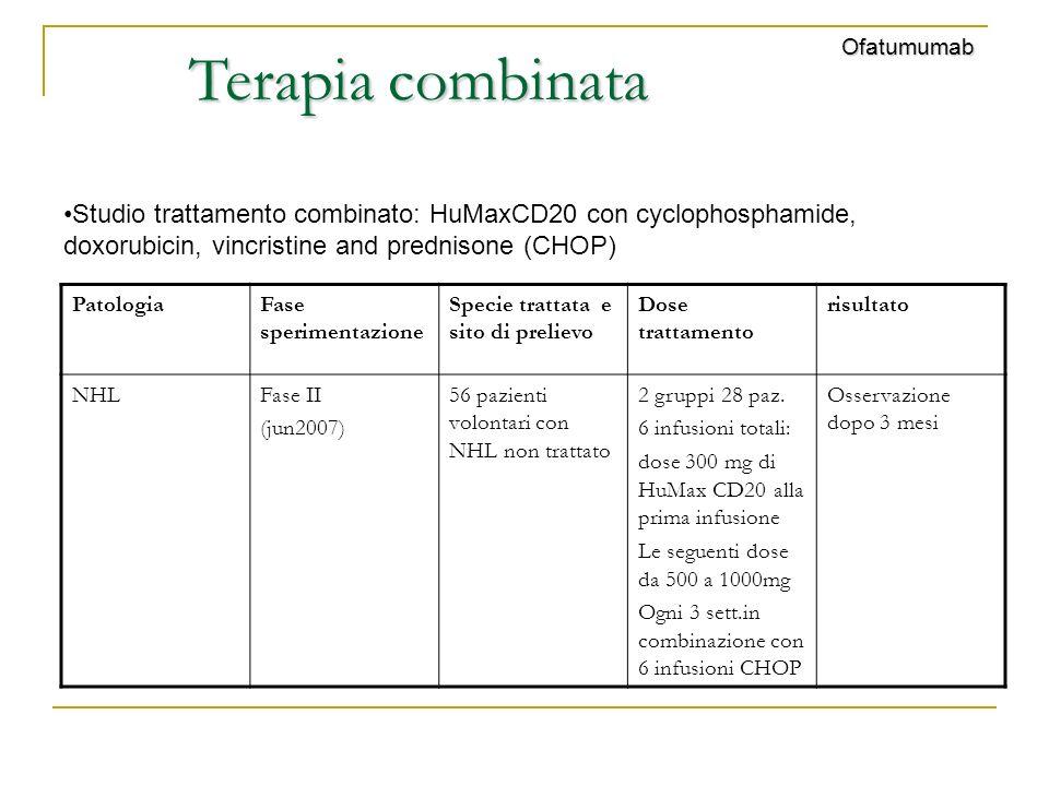 Ofatumumab Terapia combinata. Studio trattamento combinato: HuMaxCD20 con cyclophosphamide, doxorubicin, vincristine and prednisone (CHOP)