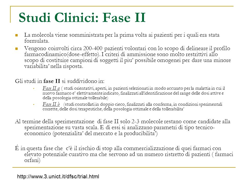 Studi Clinici: Fase II La molecola viene somministrata per la prima volta ai pazienti per i quali era stata formulata.