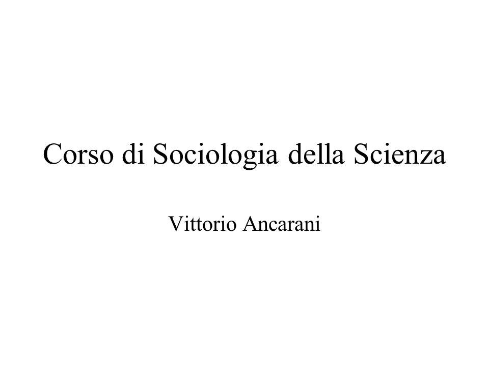 Corso di Sociologia della Scienza