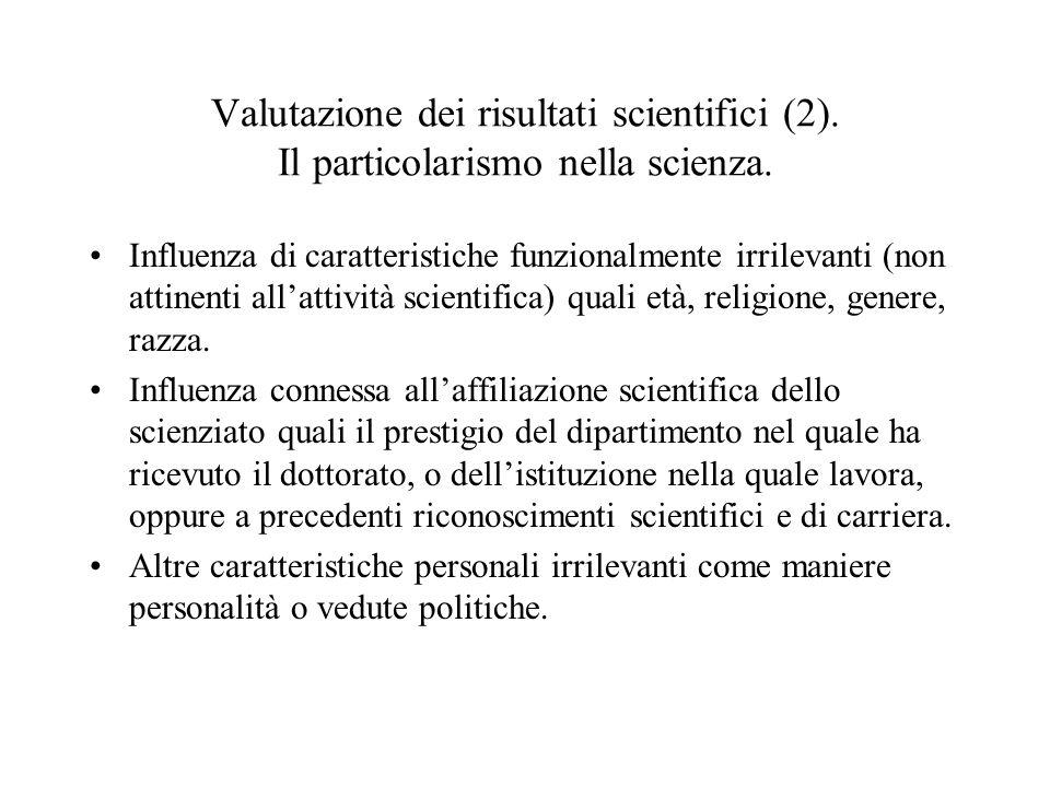 Valutazione dei risultati scientifici (2)