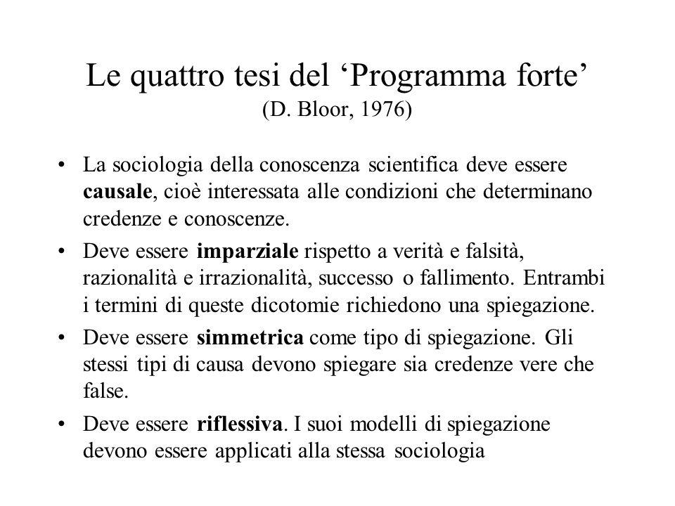 Le quattro tesi del 'Programma forte' (D. Bloor, 1976)