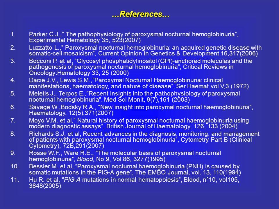 …References… Parker C.J., The pathophysiology of paroxysmal nocturnal hemoglobinuria , Experimental Hematology 35, 523(2007)