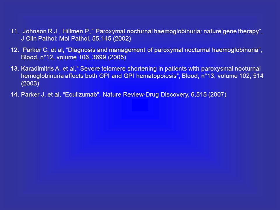 Johnson R.J., Hillmen P., Paroxymal nocturnal haemoglobinuria: nature'gene therapy , J Clin Pathol: Mol Pathol, 55,145 (2002)