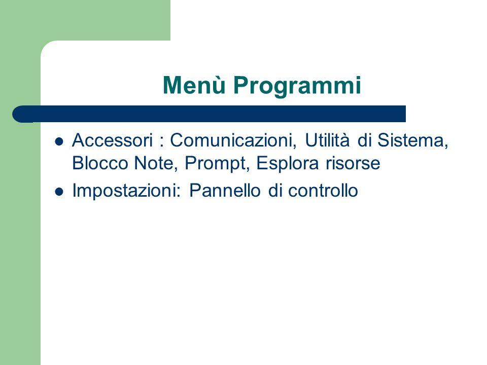 Menù Programmi Accessori : Comunicazioni, Utilità di Sistema, Blocco Note, Prompt, Esplora risorse.