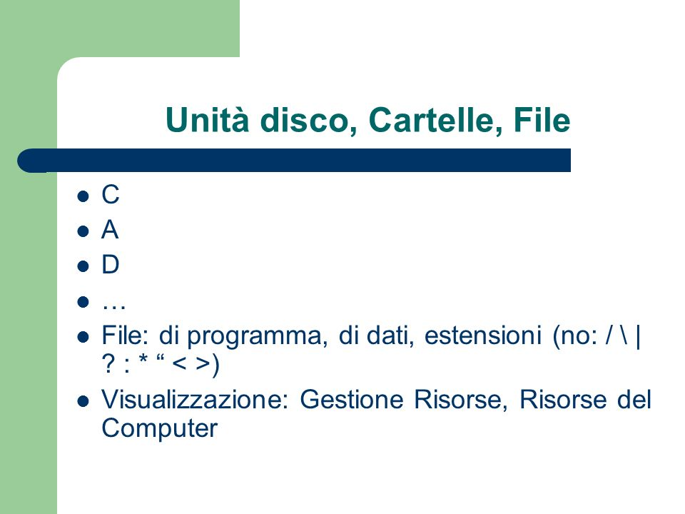 Unità disco, Cartelle, File