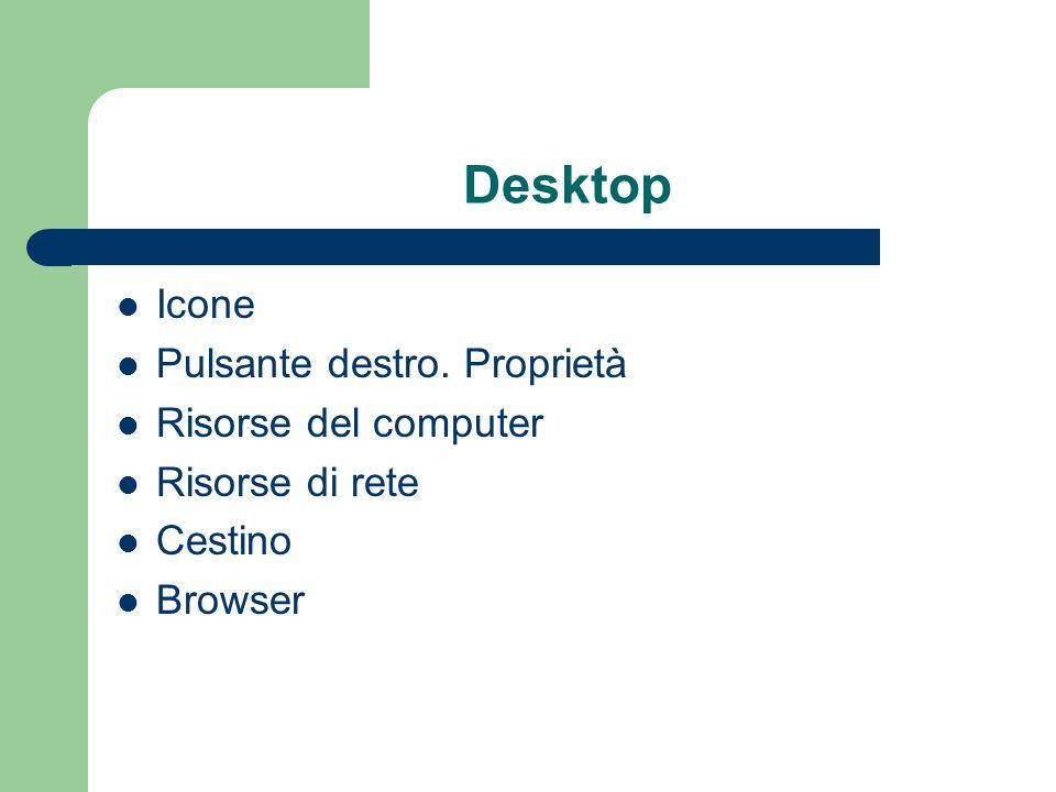 Desktop Icone Pulsante destro. Proprietà Risorse del computer