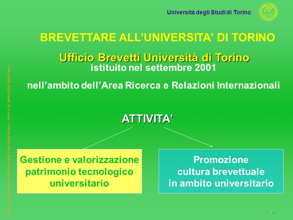 BREVETTARE ALL'UNIVERSITA' DI TORINO ATTIVITA'