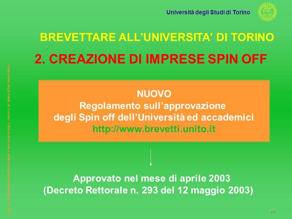 2. CREAZIONE DI IMPRESE SPIN OFF