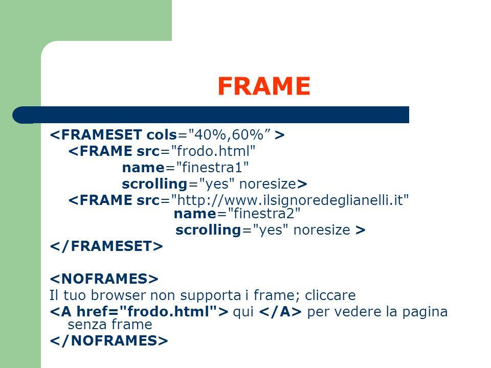 FRAME <FRAMESET cols= 40%,60% > <FRAME src= frodo.html