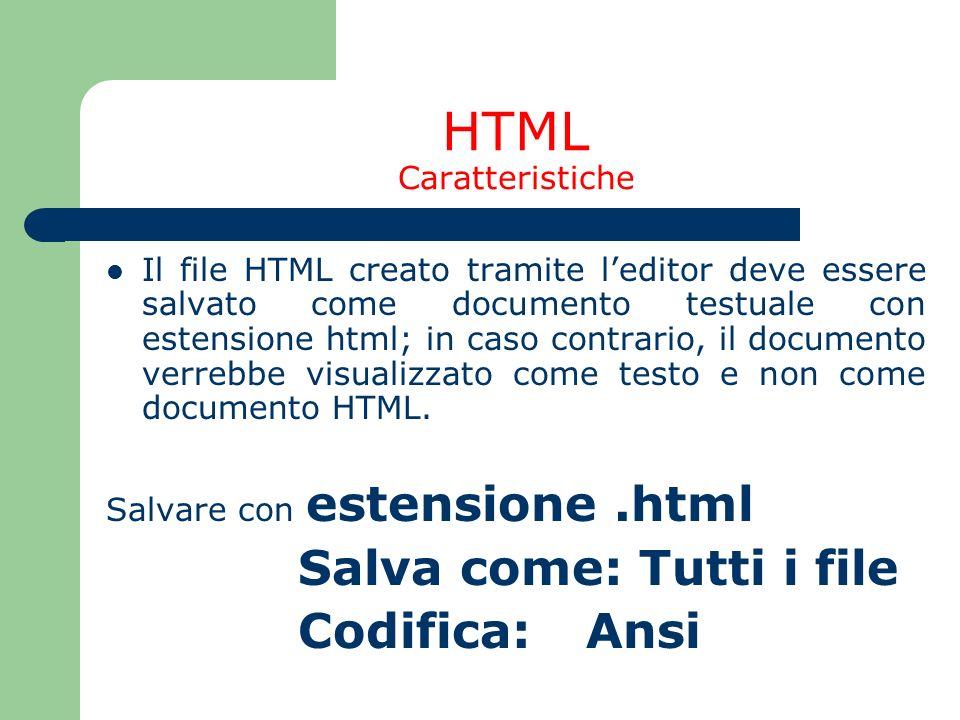 HTML Caratteristiche Salva come: Tutti i file Codifica: Ansi
