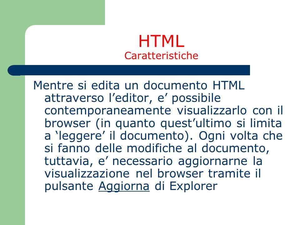 HTML Caratteristiche